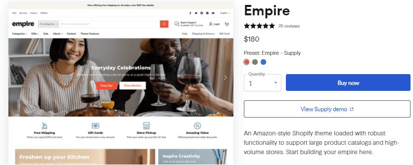 Shopify Empire Theme Price